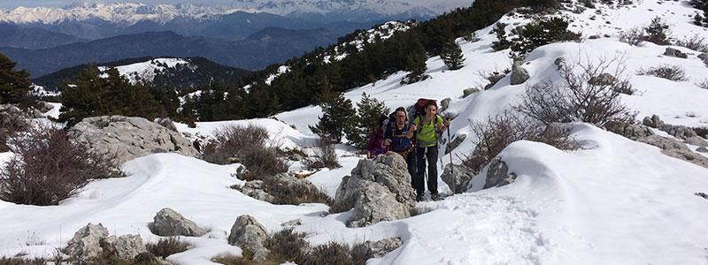 Sortie en raquettes à neige dans la vallée du Loup avec les guide du Bureau des Moniteurs.