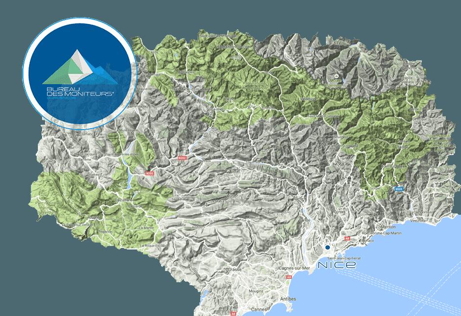 Carte du département 06 où le Bureau des moniteurs exerce en canyoning, escalade, randonnée, spéléologie, via ferrata.